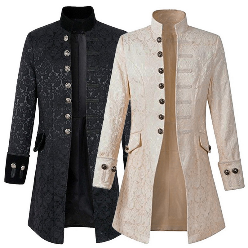 Steampunk Jacket Mens Gothic Brocade Jacket Medieval Costume Trench Coat Long Sleeve Frock Coat Vintage Stand Collar Men's Coat