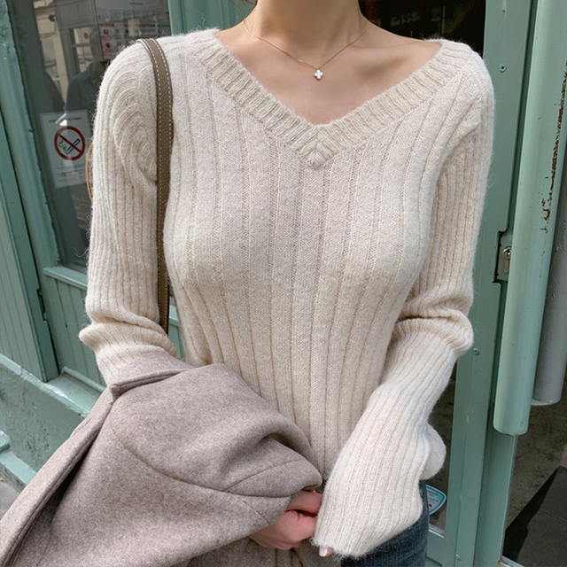 Ailegogo Casual Women Pullovers Spring Autumn Knitted Female Slim Fit Solid Color Sweater Knitted Ladies Knitwear Tops 6