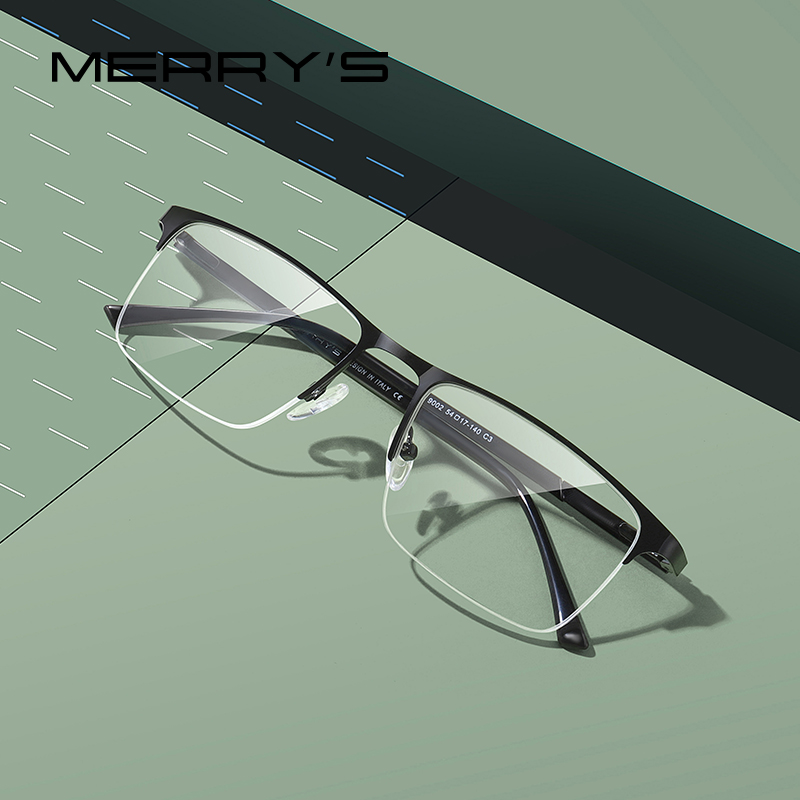 MERRYS DESIGN Men Alloy Glasses Frame Men Square Half Optical Ultralight Myopia Hyperopia Prescription Eyeglasses S2102