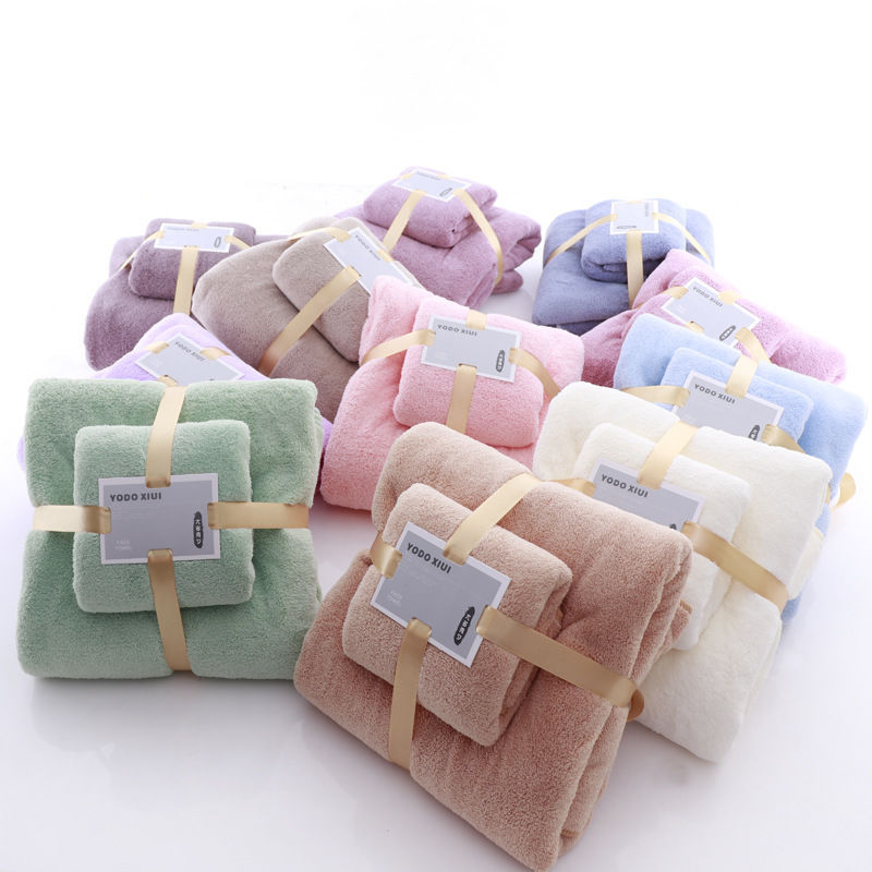 [Towel + Bath Towel] Set Thick Than Cotton Soft Absorbent Adult Children Face Wash Bath Towel