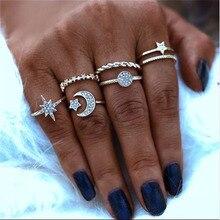 Modyle 7 estilos Vintage Color oro Set de anillos para nudillos para mujeres Punk estrella Luna anillos Midi mujer turco de la joyería de Boho