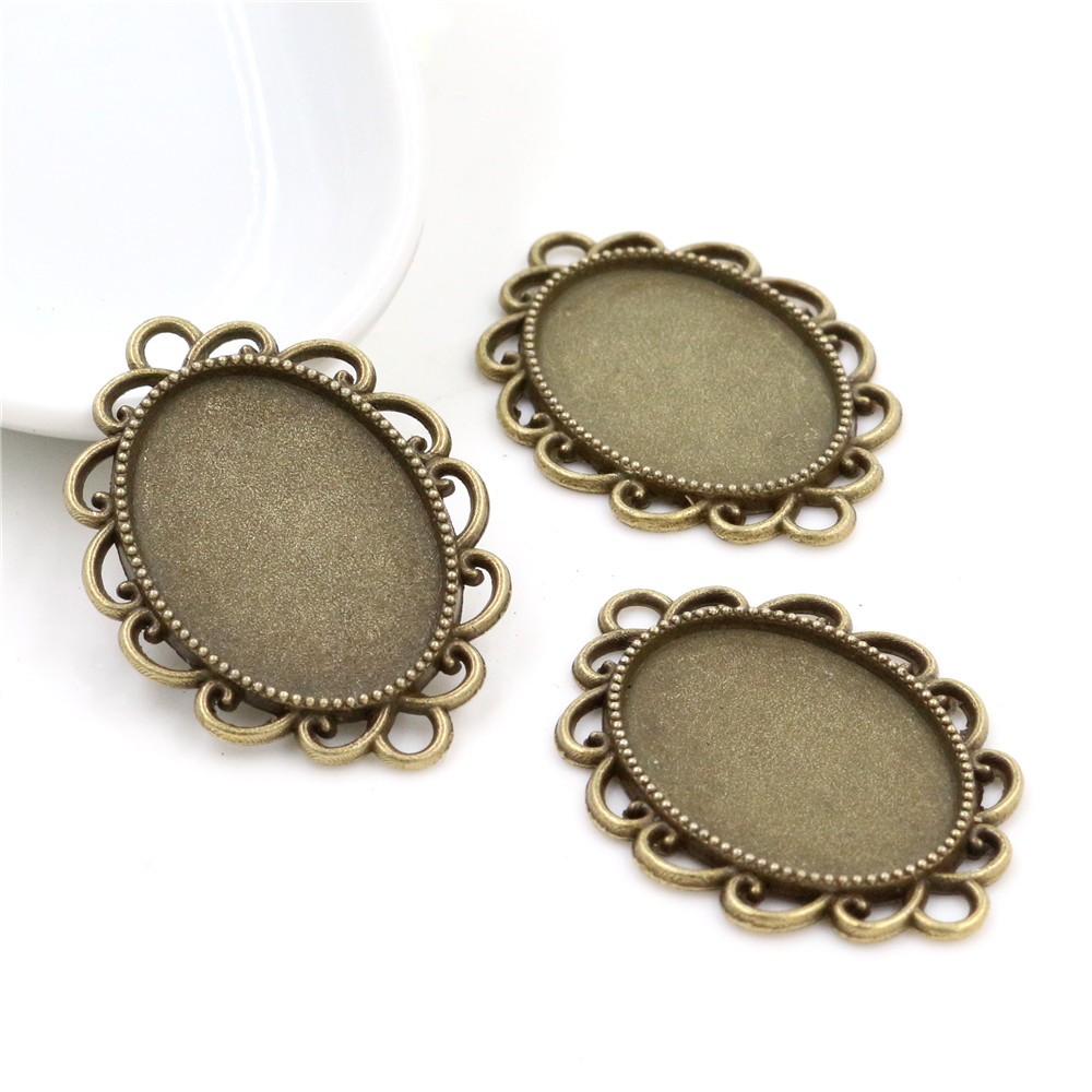 10pcs 18x25mm Inner Size Antique Bronze Flowers Style Cameo Cabochon Base Setting Charms Pendant Necklace Findings  (C3-39)