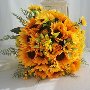 Image 5 - Artificial Bridal Wedding Bouquet Romantic Handmade Bright Sunflower Linen Rope Handle Satin Ribbon Church Party Home Decoration