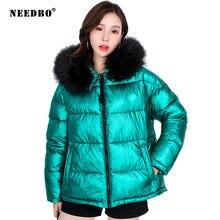 Needbo зимняя куртка женская плюс размер парка меховой воротник
