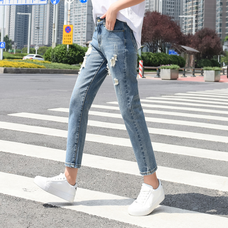 New Style WOMEN'S Dress With Holes Jeans Women's Korean-style Harem Casual High-waisted Capri Pants