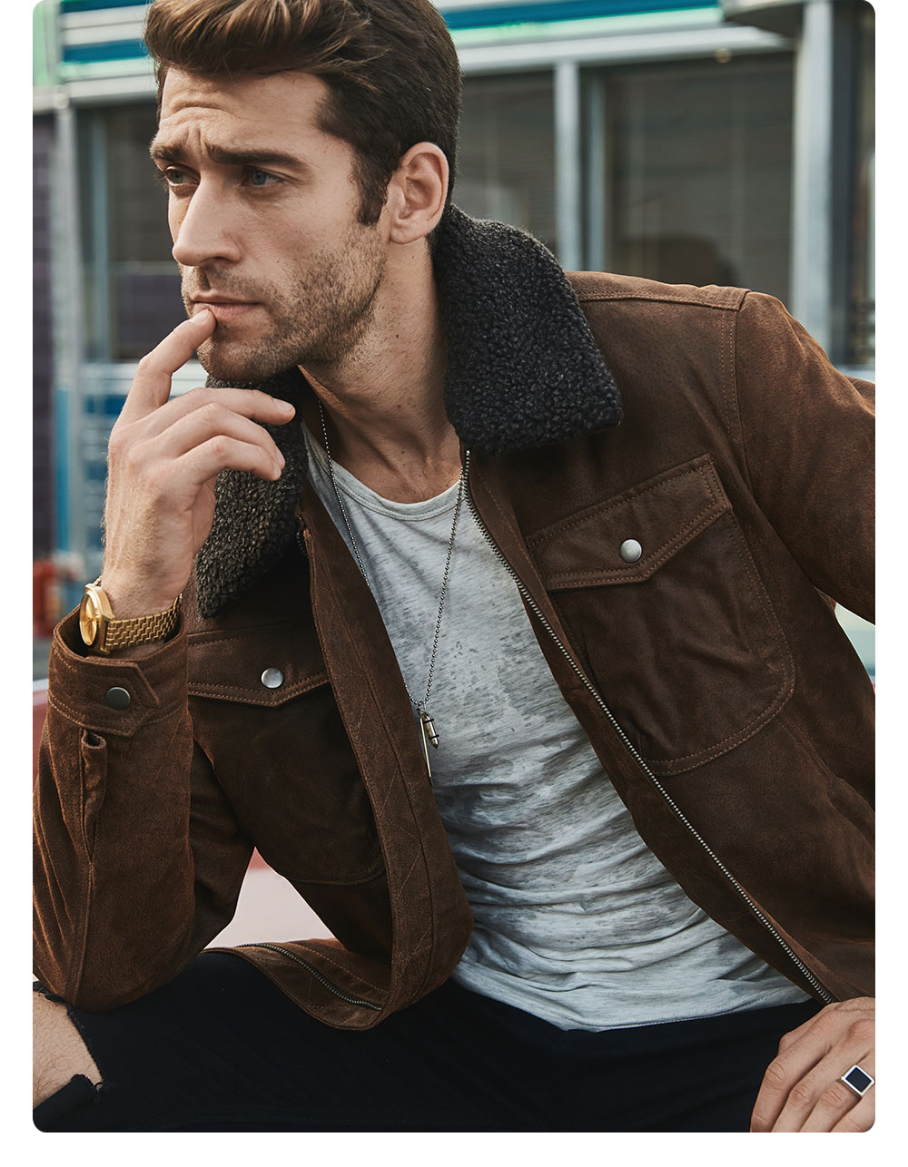Hf25f14adec6e40f3a866b4055c039e73f FLAVOR Men's Real Leather Jacket Genuine Leather jacket with faux fur collar male Motorcycle warm coat Genuine Leather Jacket