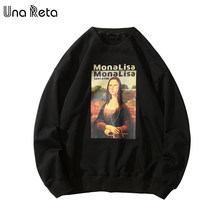 UnaReta Mona Lisa Print Fleece Men Sweatshirt New Hip-Hop Pullover Streetwear Hoodie Harajuku Tracksuit Men Casual Tops(China)
