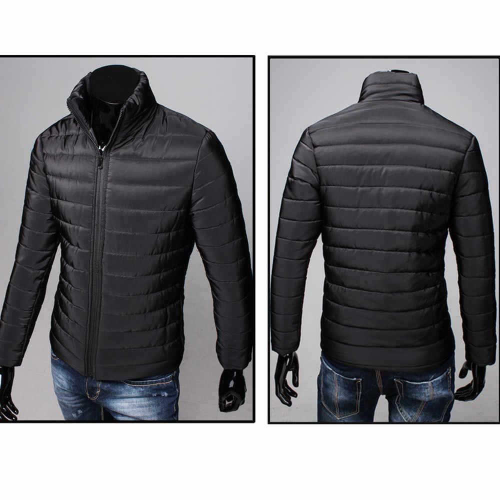 SAGACE erkekler ceket 2019 rahat pamuklu standı fermuarlı sıcak kış kalın rüzgarlık dış giyim ince ışık erkek ceket ceket giyim #45