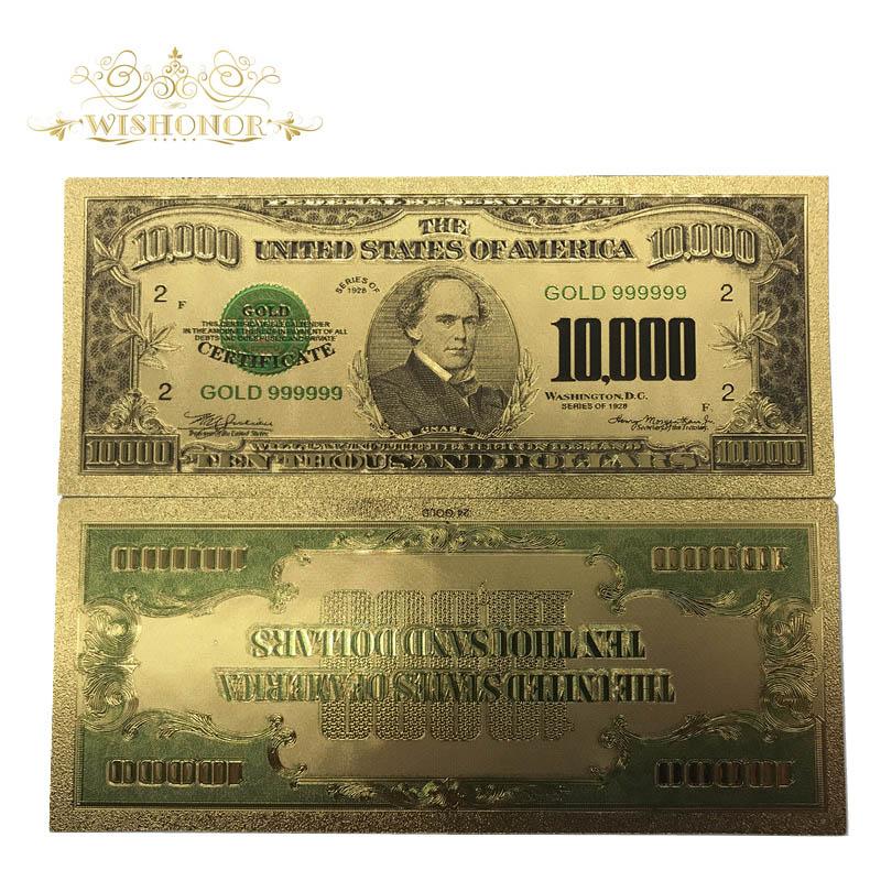 10 pièces/lot 1918 ans états-unis 24k or billets plaqué or Us 10,000 Dollar Bill Collections billets de banque monnaie faux argent