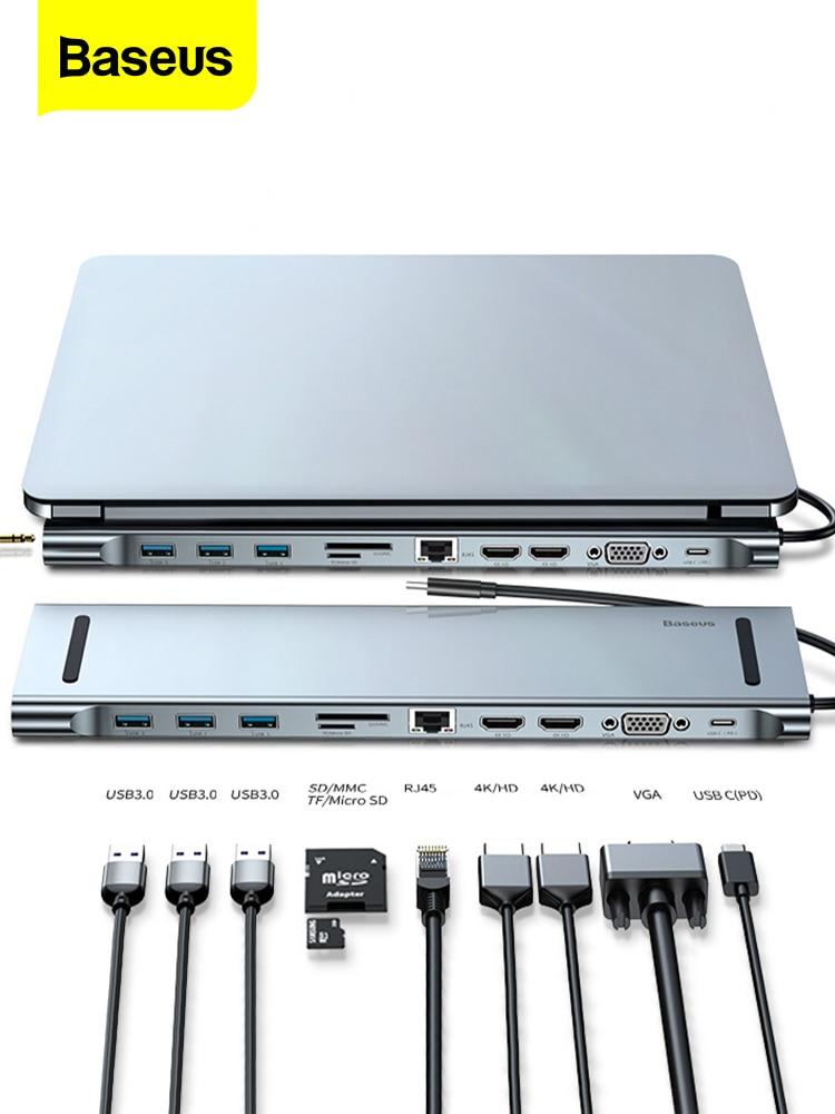 Baseus Usb-C-Hub Type-C hub Power-Adapter Multi-Ports USBC Hdmi-Vga RJ45 Macbook Pro