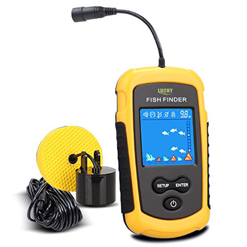 LUCKY Handheld Fish Finder Portable Fishing Kayak Fishfinder Fish Depth Finder Fishing Gear with Sonar Transducer and DisplayPor