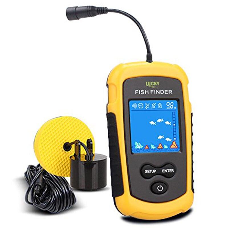LUCKY Handheld Fish Finder Portable Fishing Kayak Fishfinder Fish Depth Finder Fishing Gear With Sonar Transducer And DisplayPor
