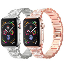 Ladies strap for Apple Watch band iWatch 6 5 4 38 44 mm Bling Stainless Steel bracelet strap Apple watch 6 5 4 3 2 , Myl qck