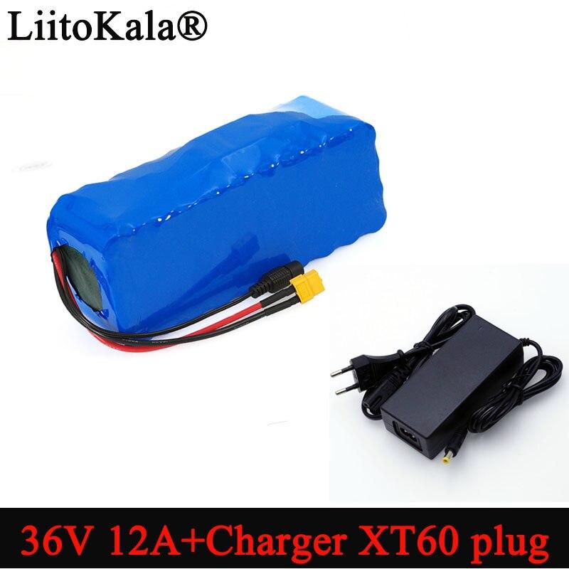 Литий-ионный аккумулятор Liitokala 36В 12Ач 18650, высокая мощность, Разъем XT60, балансир, для автомобиля, мотоцикла, электрического велосипеда, скуте...