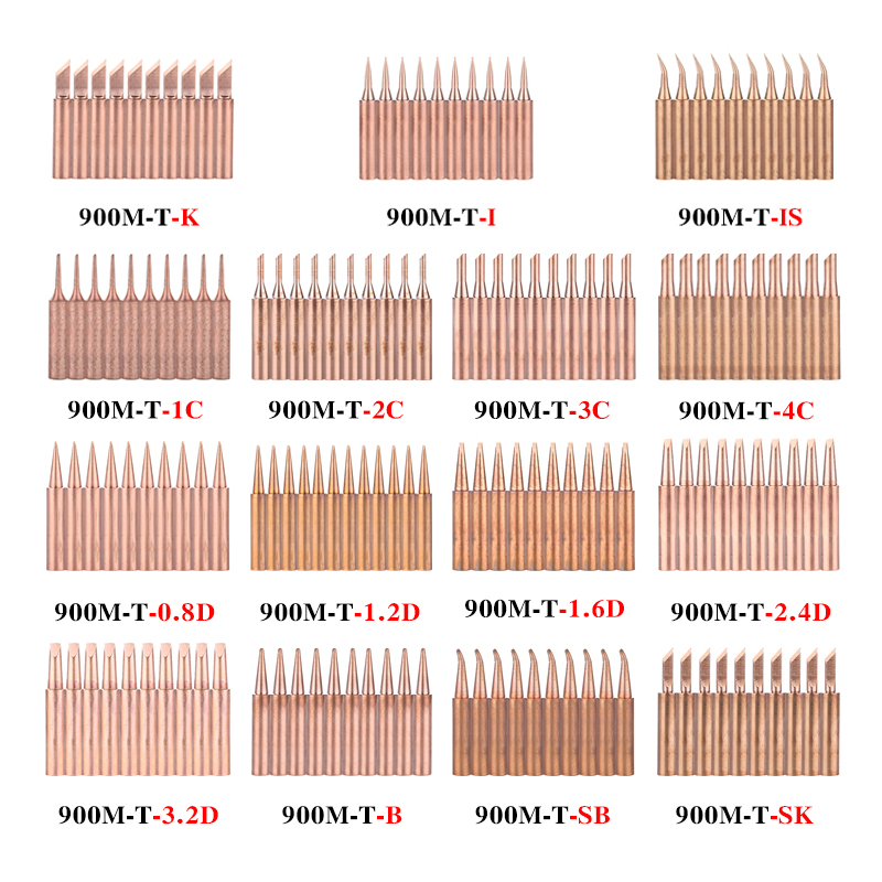 10Pcs/lot Electrical Soldering Tip 900M-T-K 900M-T-IS Lead-free Copper Solder Iron Tips Welding Sting BGA Soldering Tools