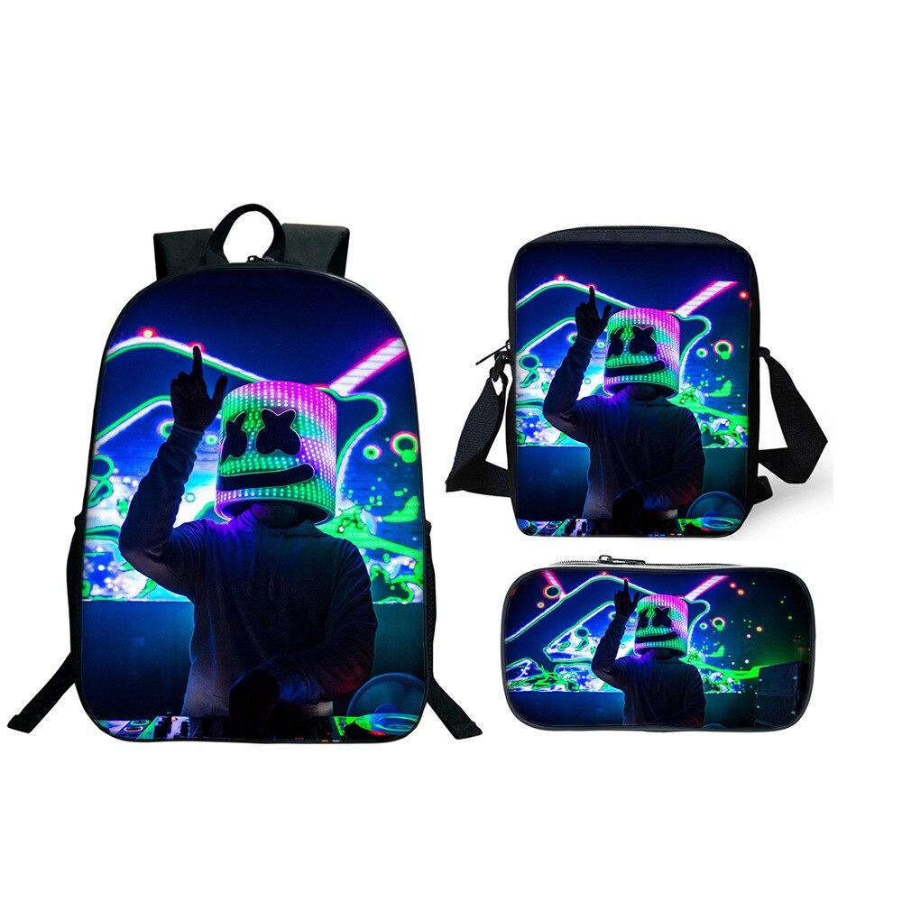 New DJ Marshmallow Kids Bag Marshmello Pupils Props Cosplay Costume Backpack Men's School Backpack Marshmallow Cute Backpack