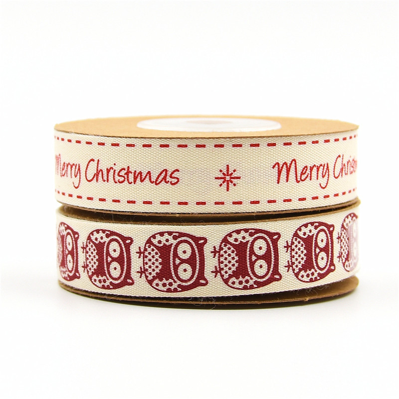 15mm Printing Cotton Merry christmas white 5-100yards Handmade Gift Wrap Sewing
