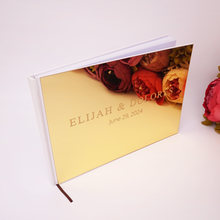 25x18cm Custom Horizontal Acrylic Mirror Silver Gold Wedding Guest Book Personalized Name Wedding Party Decoration(China)
