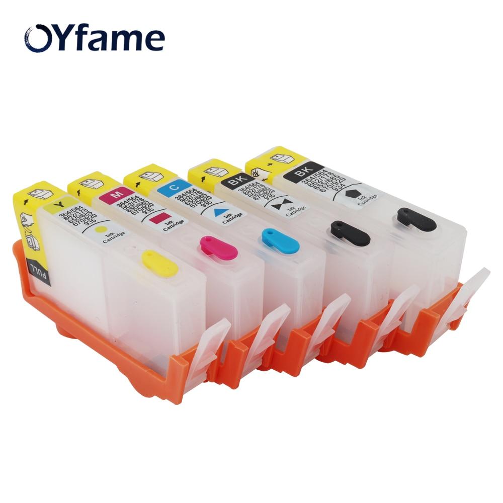 oyfame 564 cartucho 5 pecas para hp564 cartucho de tinta recarregavel para hp 564 photosmartplus b209a