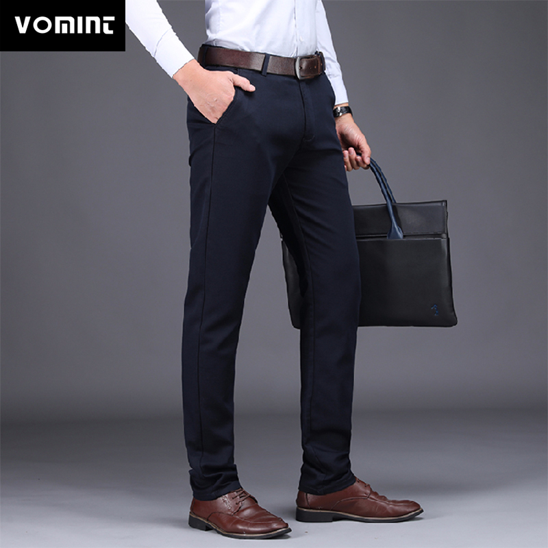 VOMINT Mens Pants 2020 New Business Casual Cotton Stretch Male Trousers Man Long Straight 3 Color High Quality  Pant Suit