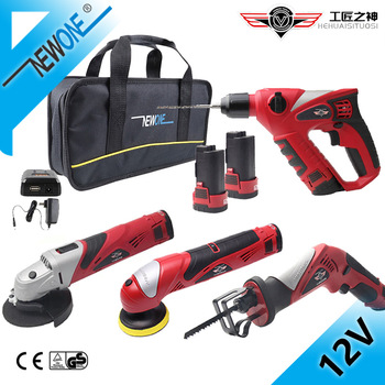 HEPHAESTUS  12V Electric Hammer, Reciprocating Saw,Grinder Combo Kit,Cordless Power Tool With Accessory