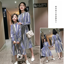 2019 mother daughter dresses in Womens Dresses Full matching clothes Striped Patchwork kids for girls
