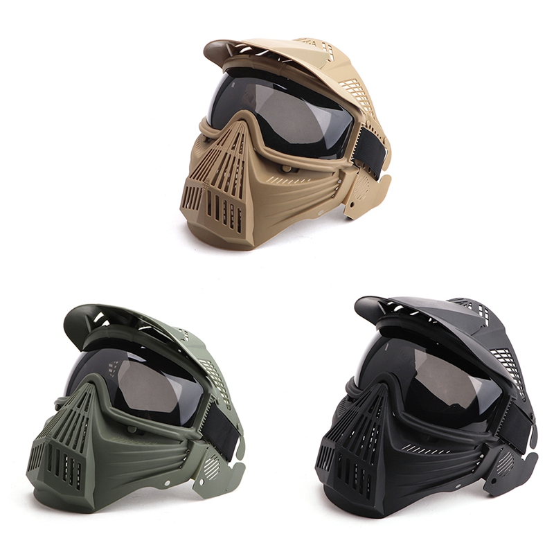 Adjustable Full Face Mask Grey Gray Lens Anti-fog Mouth Protection Outdoor Sportswear Protective Cap Accessories
