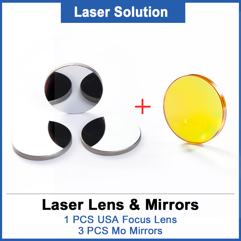 1Pcs Focus Lens Dia.12mm Focal Length 50.8mm + 3PCS MO Mirrors 20mm For 3020 K40 Co2 Laser Engraving Machine