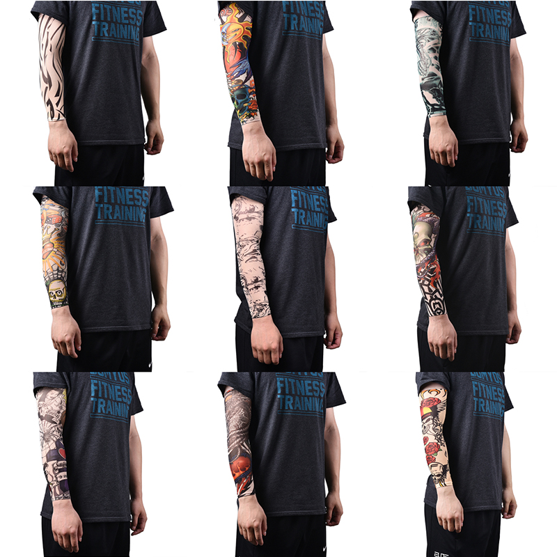 Arm Warmer Skins Proteive Nylon Stretchy Fake Temporary Tattoo Sleeves Designs Body Arm Stockings Tatoos Cool Men Women Tattoo