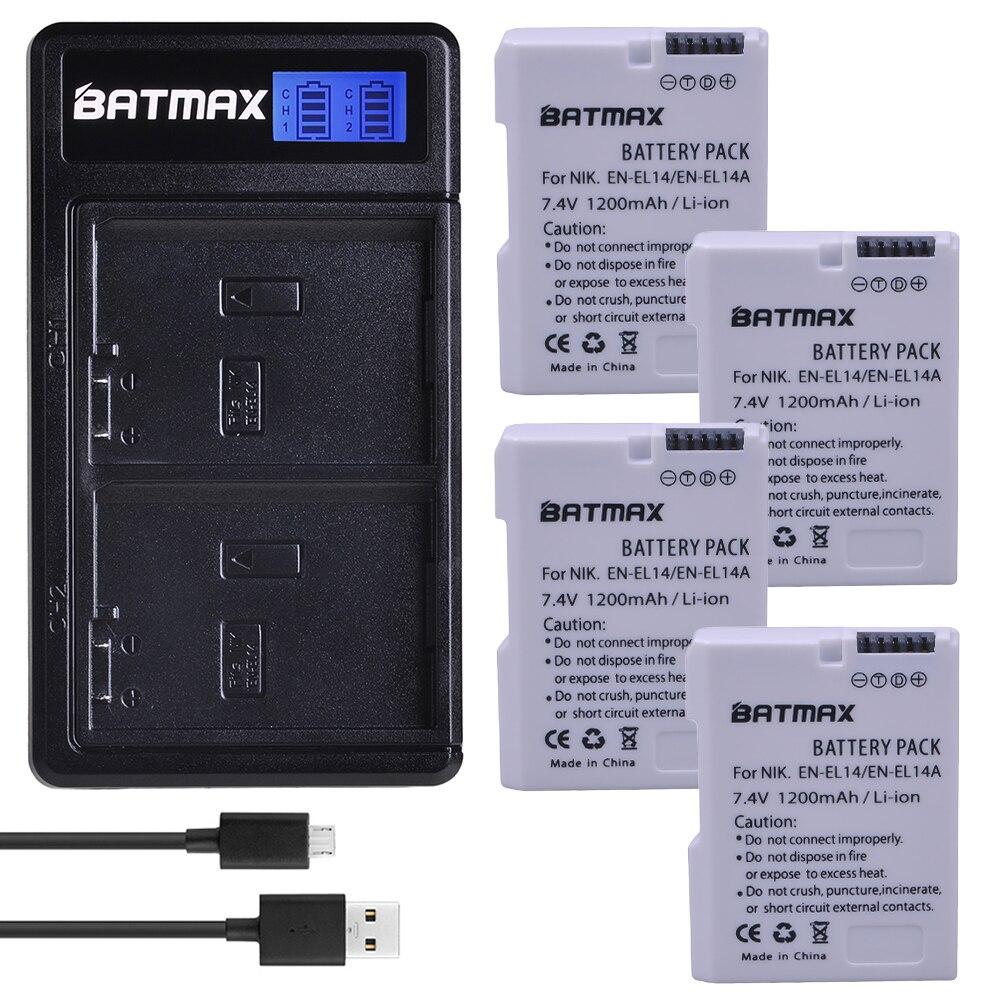 Batmax 4 pièces EN-EL14 EN-EL14a blanc Batterie + Nouveau LCD Chargeur Double USB pour Nikon D3100 D3200 D3300 D5600 D5100 D5200 D5300 P7000