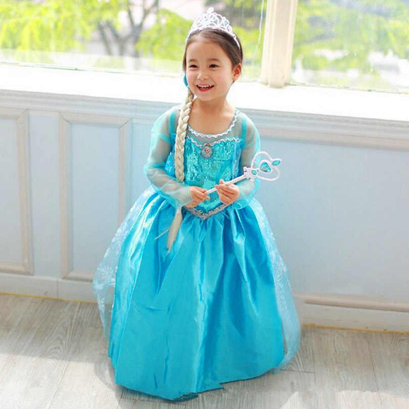 Elsa Dress Princess Girl Dresses Costumes Children Fancy Party Anna Dress Carnival Girls Clothing Halloween 2-8T