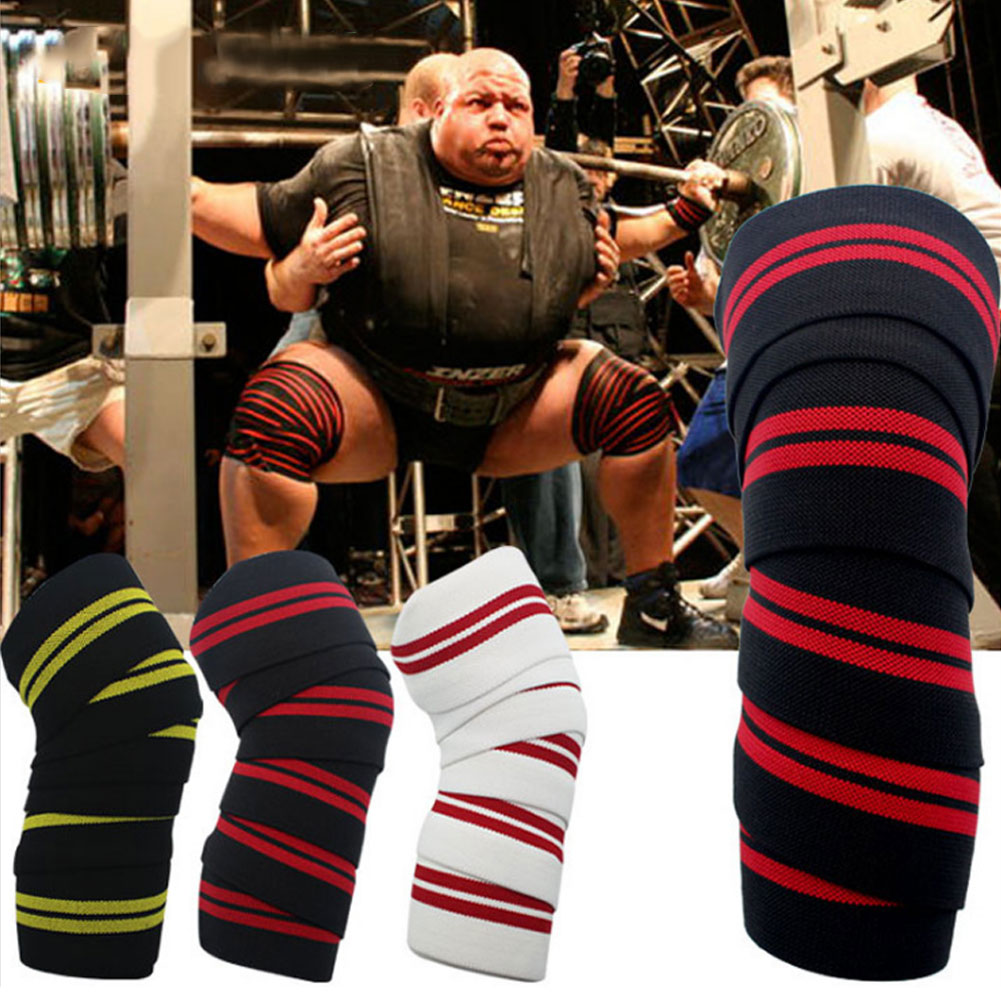 2 Pcs Weightlifting Knee Wraps Gym Workout Fitness Compression Knee Support Straps ALS88