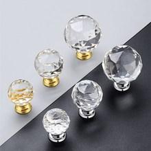 Glass-Knobs Wardrobe Handles Cabinet-Door Crystal Diamond-Shape Kitchen Hardware Drawer Pull