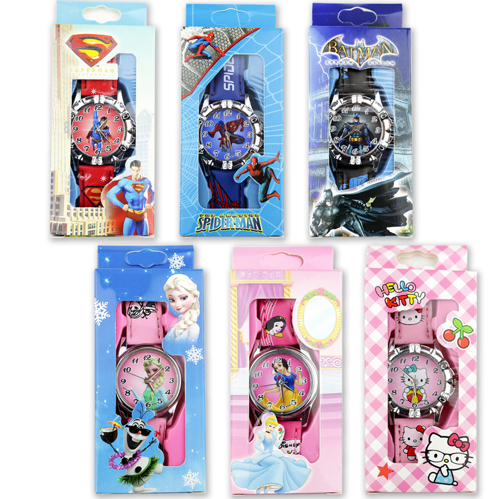 New Children Cartoon Watches Spiderman Batman Superman Boys Watch Princess Girls Watch Leather Strap Quartz Clock With Box