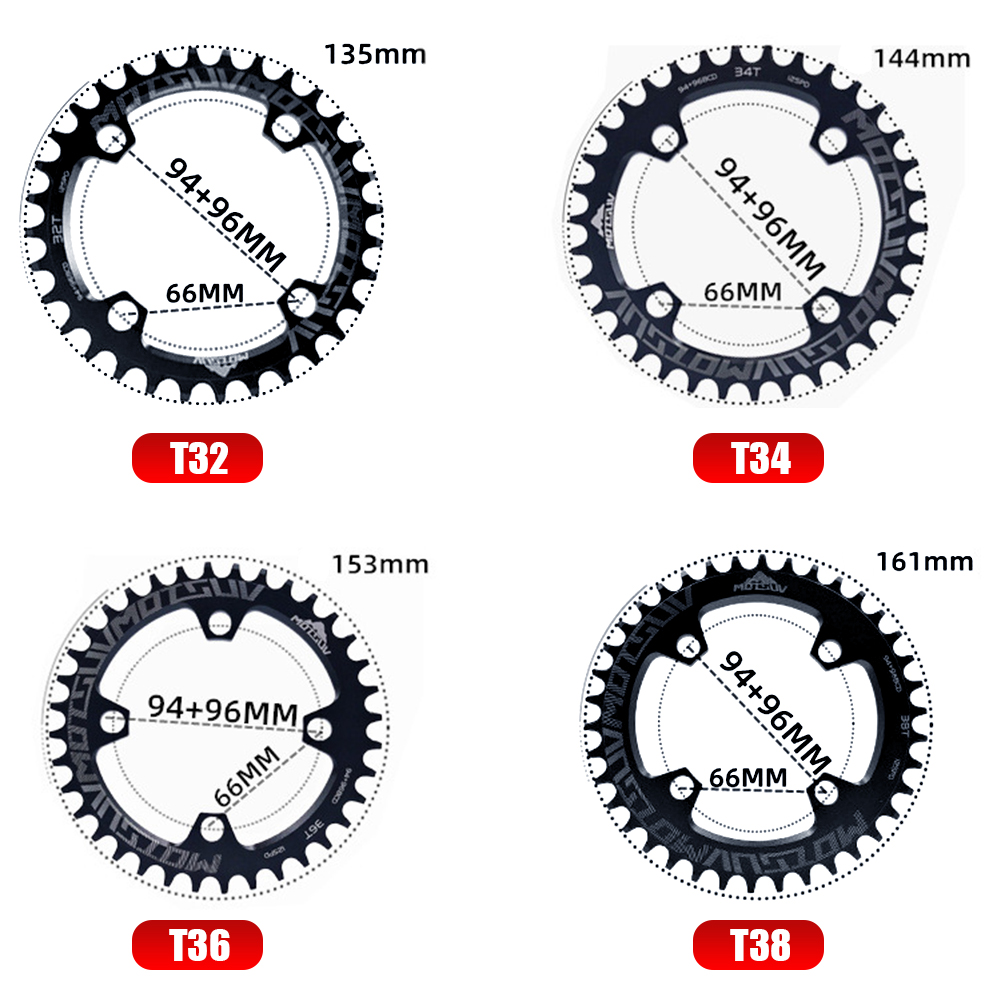 Bicycle Crank 94+96BCD Round Shape 32T/34T/36T/38T MTB Chainring Chainwheel Bike Circle Crankset Single Plate Parts for SHIMANO