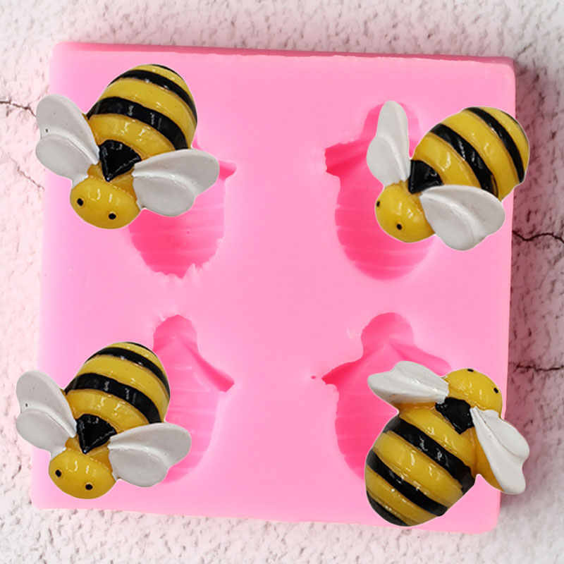 Insect Bees Silicone Molds DIY Party Cupcake Topper Fondant Cake Decorating Tools Candy Ploymer Clay Chocolate Gumpaste Moulds