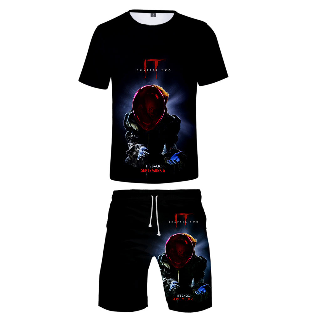 Hot Sales Hot Sales Trend It-chapter 2 Digital Printing 3D Casual Short Sleeve + Beach Shorts