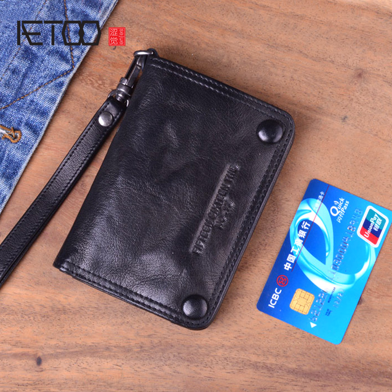 AETOO Original punk style handmade vertical retro wallet men's short leather men's youth folds lambskin old