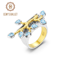 Cocktail-Ring Blue Topaz Gold Handmade 925-Silver Two-Tone Natural Women's Over Swiss
