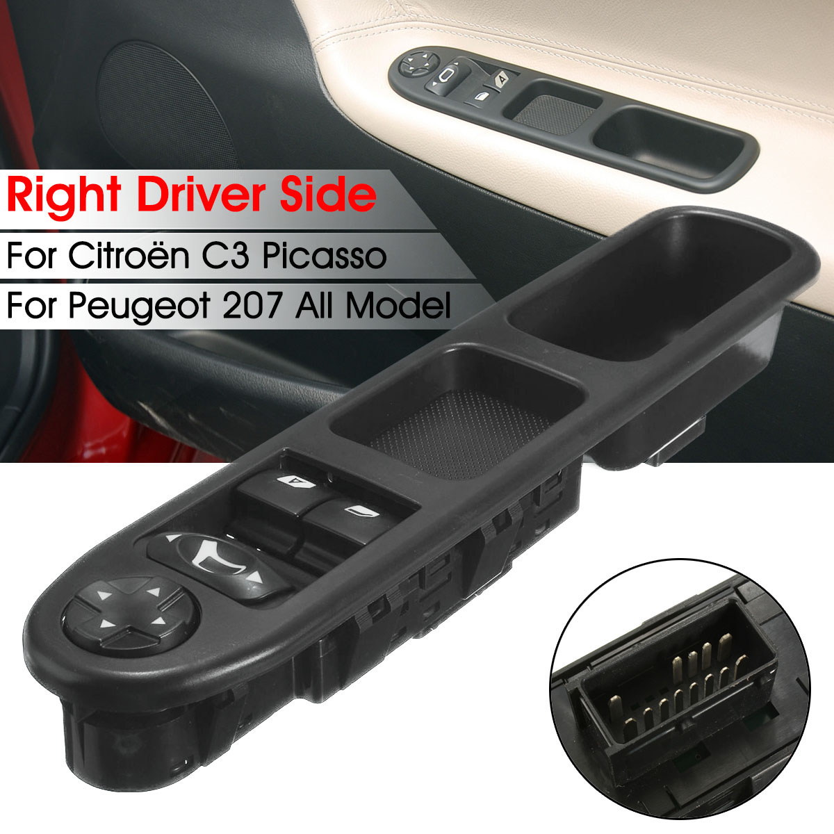 6554.QC ön sol sürücü yan güç ana pencere kontrol anahtarı 6554QC Peugeot 207 Citroen C3 Picasso 2007- 2014