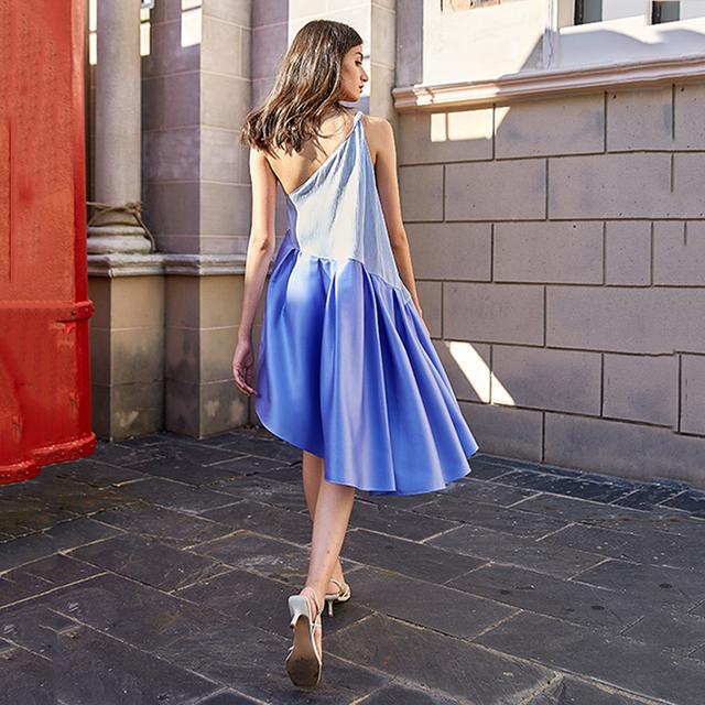 [EAM] Women Blue Irregular Split Joint Dress New Asymmetrical Collar Sleeveless Loose Fit Fashion Tide Spring Summer 2020 1W839
