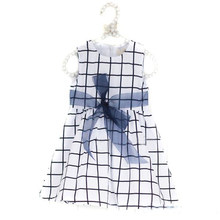 New 0-3 Years Baby Skirt Girl Kids Girl Top Bow-knot Plaids Dresses Cotton Toddler Costom(China)