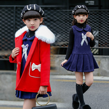 2019 New Winter Casual Children Woollen coat+ Dress Girls 2pcs set Clothing Suit For  6 7 10 15 Years kids clothes girls 2095
