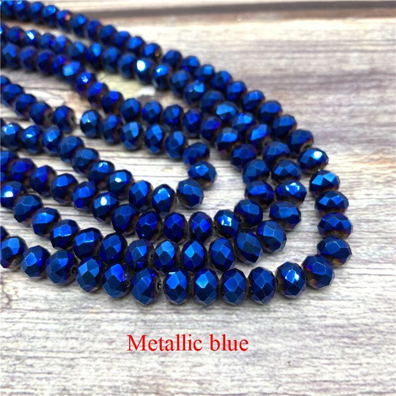 2X3/3X4/4X6/6X8 мм хрустальные бусины AB разноцветные стеклянные бусины Sapcer для ювелирных изделий ручное кольцо Ожерелье Изготовление DIY - Цвет: Metallic blue