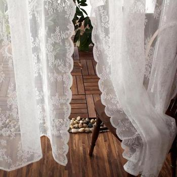 Cortinas coreanas para salón comedor dormitorio idílico encaje balcón Bahía ventana estilo Country americano cortinas de tul Jacquard