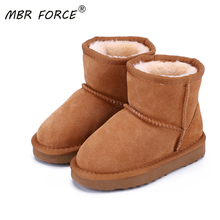 MBR FORCE Snow Boots Genuine Leather 2020 Boots for Girls Boys Winter Warm Children's Shoes Plush Fur Botas Kids