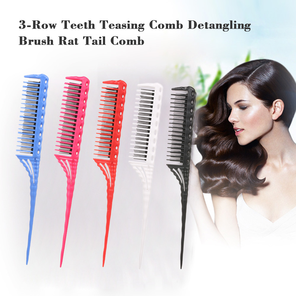 3-Row Teeth Teasing Abody Hair Brush Comb Detangling Brush Rat Tail Comb Adding Volume Back Coming Hairdressing Combs