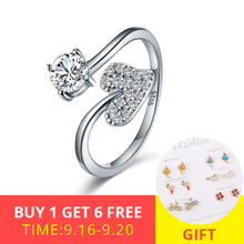 XiaoJing 100% 925 Sterling Silver Heart Shape shiny CZ open adjustable Finger Ring for Women Fashion Wedding  Jewelry Gift