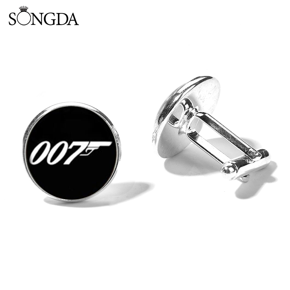 SONGDA New James Bond 007 Cufflinks For Mens Business Wedding Cuff Link Handmade Glass Photo Dome Cuff Jewelry Gift For Husband