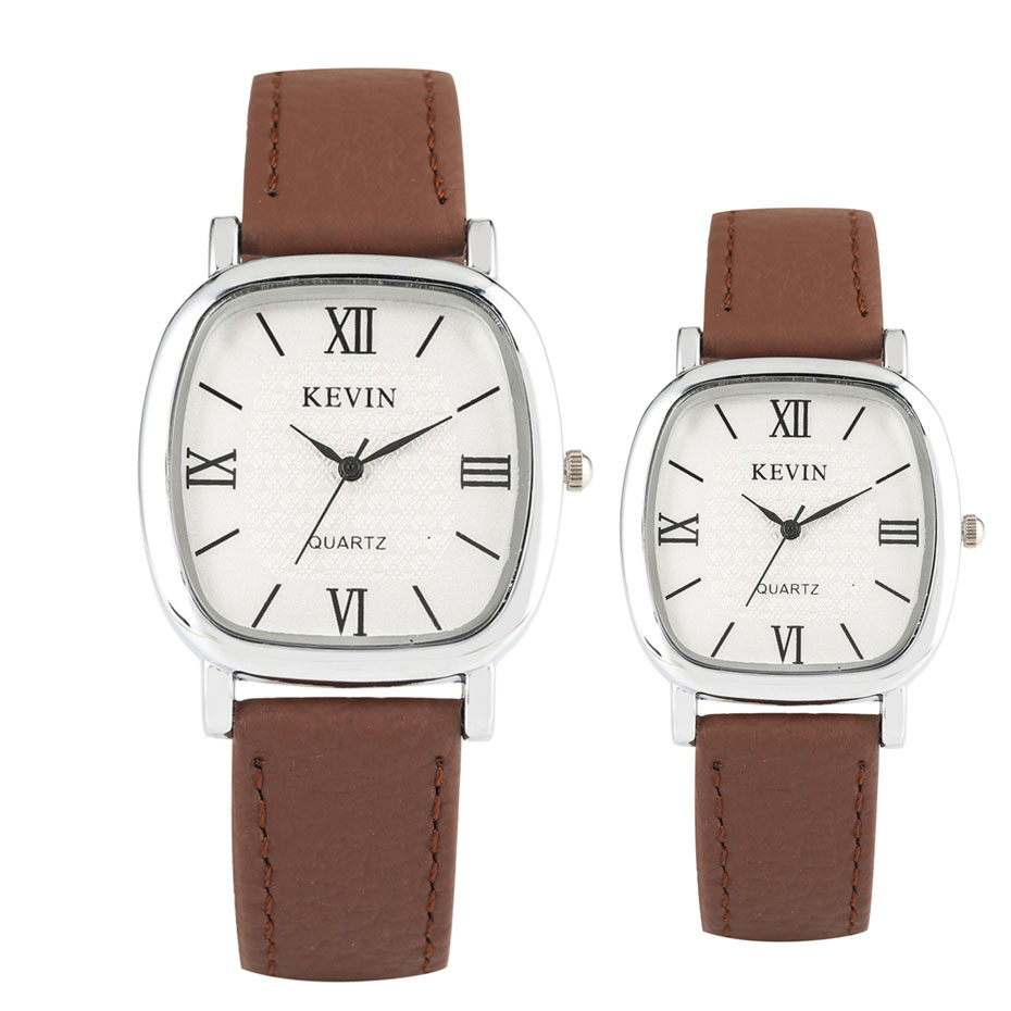 Luxury Couple Watches Quartz Movement Fashion Brown Leather Watch Band Lovers Casual Watch Gifts Men Women Wristwatches